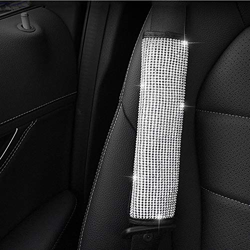 (UR URLIFEHALL 2 Packs Bling Bling Seat Belt Shoulder Pads, Luster Crystal Car Seat Belt Covers Diamond Car Decor Accessories for Women (2 pcs Seat Belt Cover))