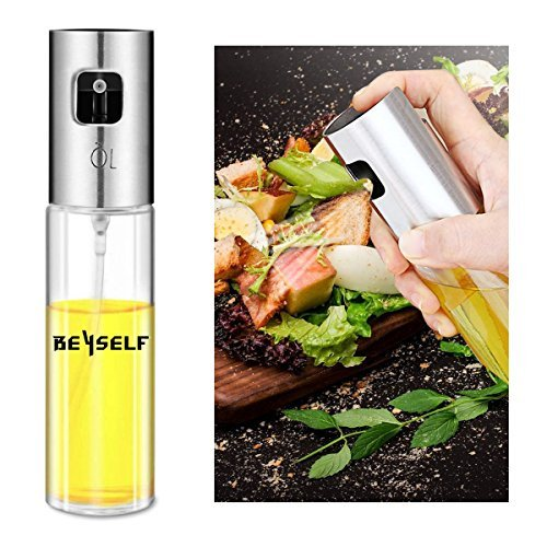 (Olive Oil Sprayer, Neiup Oil & Vinegar Sprayer/Oil Spray Mister With Pump 100ml Stainless Steel & Glass for BBQ, Salads, Cooking, Baking, Grilling, etc 100% Food Safe)