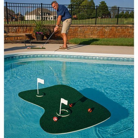 Most Popular Summer Fun Pool Yard Outdoor Floating Golf Green Game- Hours Of Competitive Fun Games- Comes Fully Equipped With 12 Balls Two Flags Cups Chipping Mat and More- Golf Clubs NOT Included