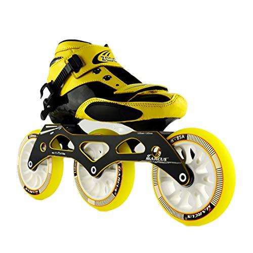 子音負荷地中海NUBAOgy インラインスケート、90-110ミリメートル直径の高弾性PUホイール、3色で利用可能な子供のための調整可能なインラインスケート (色 : Green, サイズ さいず : 37)