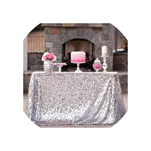 Red Sequin Tablecloth 60X102-Inch Red Sequin Tablecloth Shiny Sequin Tablecloth for Wedding/Birthday Decoration,Silver,90x156inch ()