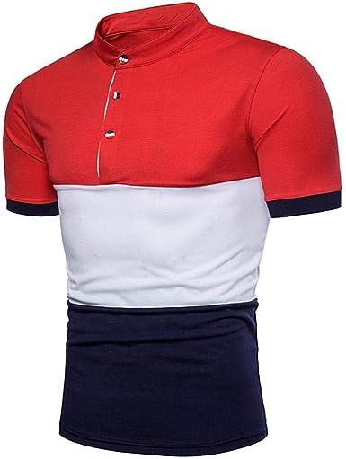 Camisas De Verano De Los del Cuello Hombres Modernas Casual De Manga Corta Camiseta Tops Moda Casual Colores Mezclados Sport Movement Tops: Amazon.es: Ropa y accesorios