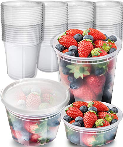 [45 Pack] Plastic Containers With Lids Set - Freezer Containers Deli Containers With Lids - Meal Prep Containers for Food Storage Containers - Plastic Food Containers by Prep Naturals [Mixed Sizes]