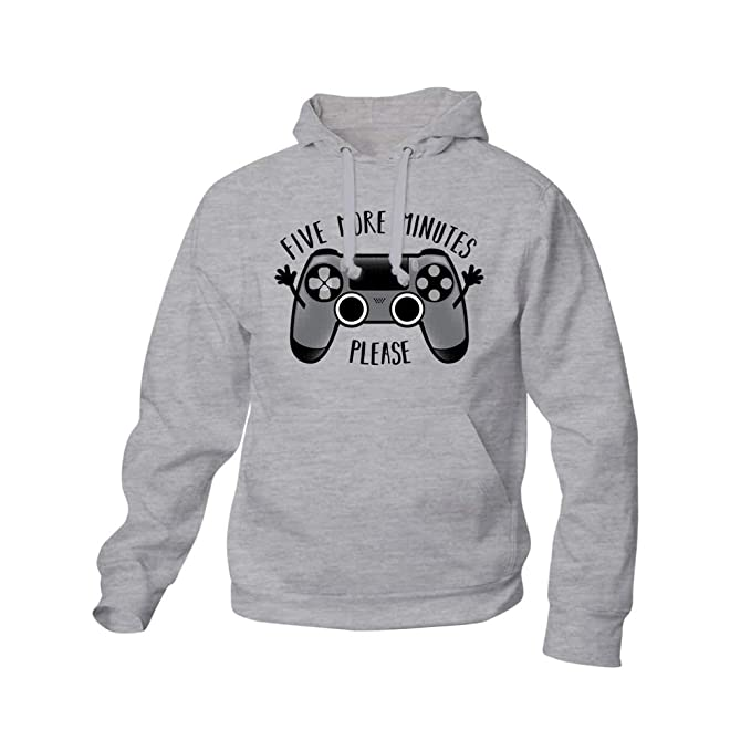 Sudadera Play Five More Minutes - Gamer - Humor - Color Gris Mezcla - Serigrafía: Amazon.es: Ropa y accesorios
