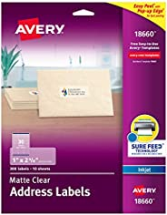 """AVERY Matte Frosted Clear Address Labels for Inkjet Printers, 1"""" x 2-5/8"""", 300 Labe"""