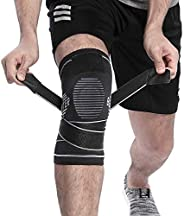 BERTER Knee Support, Compression Knee Brace with Non-slip Adjustable Pressure Strap for Pain Relief Meniscus T