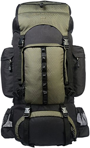 AmazonBasics Internal Frame Hiking Camping Rucksack Backpack with Rainfly - 15 x 6.5 x 30 Inches, 55 Liters, Green - External Internal Frame Backpacks