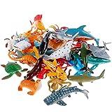 Sea Animal Figures Animal Toys 38PCS - Nabance Mini Sea Animal Toys Set Realistic Animal Sea Life Figures Toy Educational Animal Learning Toys Bath Toys for Child
