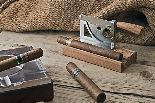 Elegant handmade Italian table-top cigar cutter with olive wood base and handle by Saladini Knives (Image #2)
