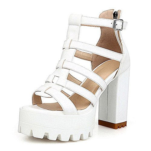 AllhqFashion Women's Solid PU High-Heels Open Toe Zipper Sandals White AAjJORS