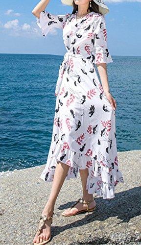 Sommer Lang Kleider mit Bandagen Damen Mode Bohemia Blumen Irregulär  Kleider Strandkleider Urlaub Blusenkleider Sexy V ... f3d1d28c48