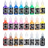 Fabric Paint Set with Brushes & Stencils: Permanent Craft Puffy Paint for Decorating Shirts, Denim, Textile or Glass - 3D Puff Paint Kit with Glitter and Glow in The Dark Paint - 24 1 Oz Bottles: more info