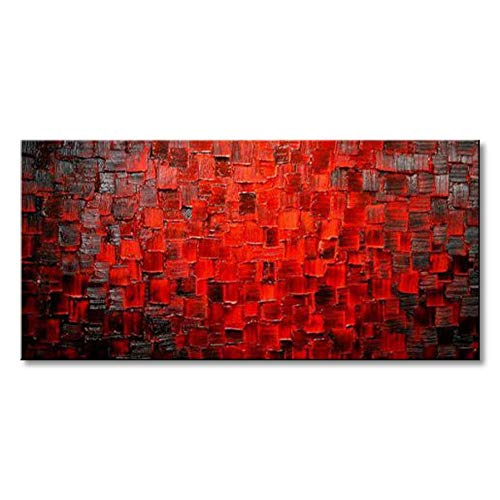Seekland Art Modern Oil Painting Hand Painted Texture Red Abstract Canvas Wall Art Decoration Contemporary Artwork Framed Ready to Hang (Red Art Canvas)