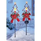 Collections Etc Solar Christmas Candle Garden Stakes - Set of 2