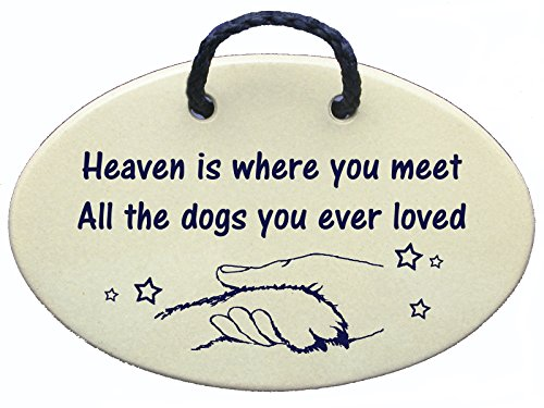 Heaven is where you meet All the dogs you ever loved. Introductory offer this new Amazon Prime saying, Ceramic wall plaques handmade in the USA for over 30 years. (Ceramic Wall Plaque)