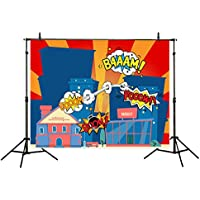 Allenjoy Polyester Photography Backdrops 7x5FT Bomb Comic Hero Super City Superhero Theme Background for Children Birthday Party Decoration Photo Studio Photocall