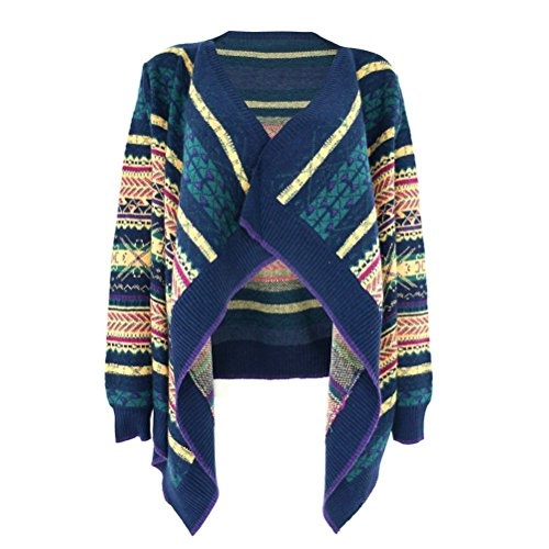 ZLYC Women Lady Aztec Striped Blanket Wrap Cardigan with Waterfall Open Front
