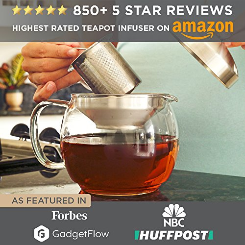 Teapot Kettle with Warmer - Tea Pot and Tea Infuser Set - Glass Tea Maker Infusers Holds 3-4 Cups Loose Leaf Iced Blooming or Flowering Tea Filter- Teapots Kettles Tea Strainer Steeper Tea Pots by Willow & Everett (Image #4)