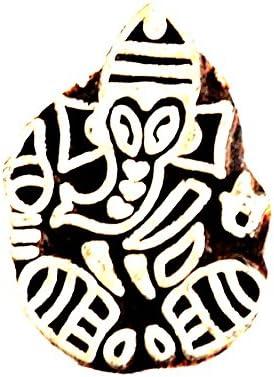Handmade Vintage Paisley Wooden Stamp India Weavers Textile Block-Printing Stamp Ganesh Design
