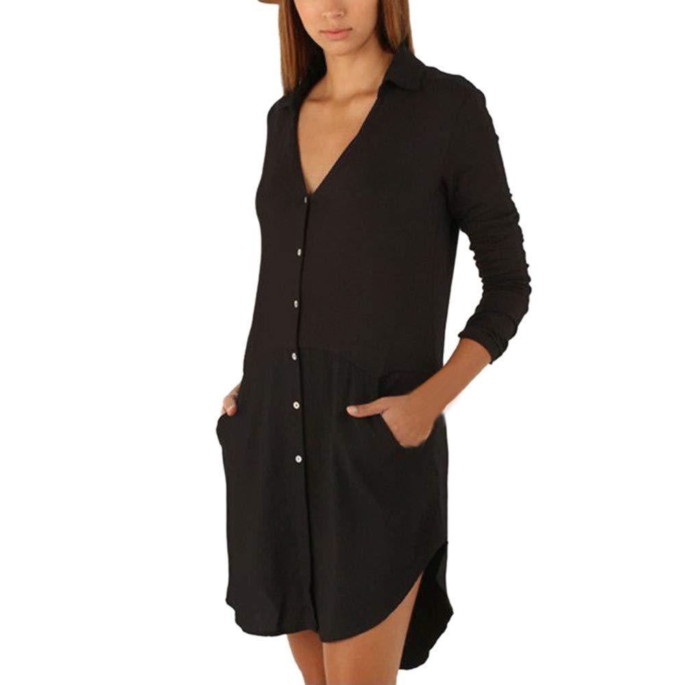 Ulanda Women's Roll up Long Sleeve Button Down T-Shirt Dress Casual Swing Mini Dress with Slant Pocket