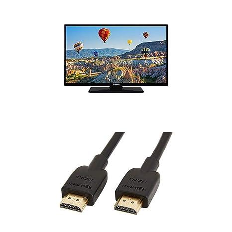 Techwood H32T11A 81 cm (32 Zoll) Fernseher (HD Ready, Triple Tuner) mit AmazonBasics HDMI-Kabel
