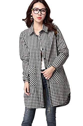 夕暮れチート時々(フムフム) fumu fumu レディースファッション チュニック シャツ チェック 体型カバー 大きいサイズ 白 黒 格子