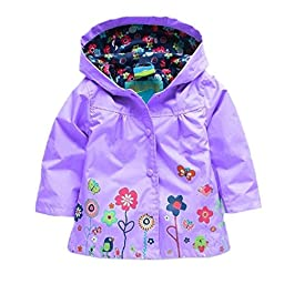 Baby Kid Girl Waterproof Hooded Coat Jacket Outwear Raincoat Hoodies (5T, Purple)