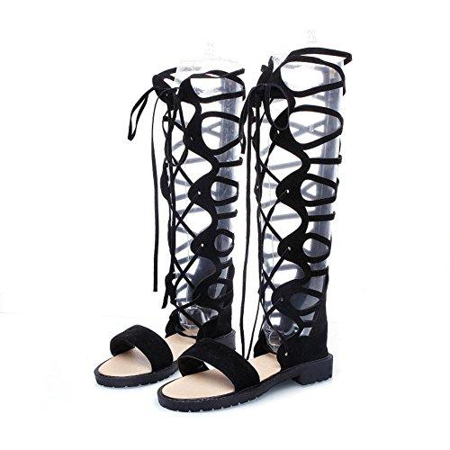 TAOFFEN Women Gladiator Sandals Low Heel Black hcseB5kd