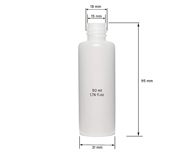 Octopus 10 x 50 ML Plástico Botellas, Botellas de plástico de HDPE con Blancas Salpicaduras Cierres o tropfve rschlüssen, chemikalienresistent: Amazon.es: ...