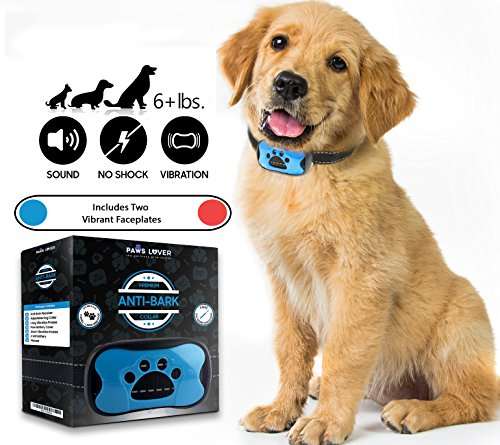 Paws Lover – Humane, No Harm Shock Bark Collar for Small Medium Large Dogs – 7 Tone Levels - Sensitivity Adjustable, Sound Beep and Vibration No Bark Training Control (Standard Puppy Kit)
