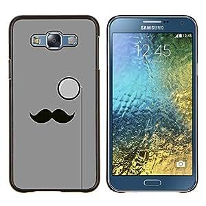 Hipster Bigote- Metal de aluminio y de plástico duro Caja del teléfono - Negro - Samsung Galaxy E7 / SM-E700