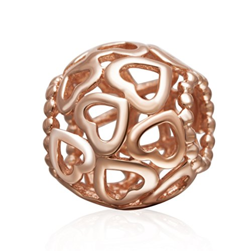 Heart Gold Charm Filigree (Rose Gold Open Your Heart Charms 925 Sterling Silver Openwork Filigree Love Bead Bracelet)