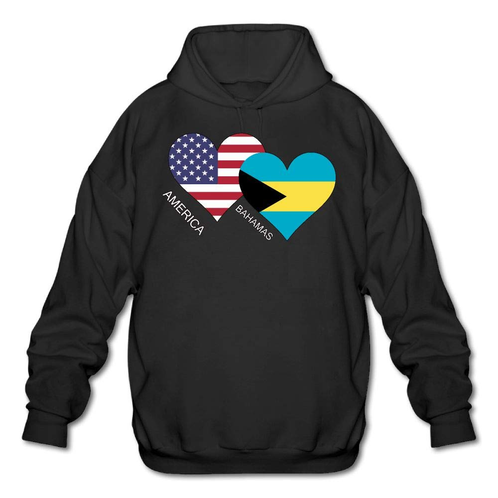 QOBPNVGNJHF0 Adult America Bahamas Flag Heart Printed Hooded Sweatshirt