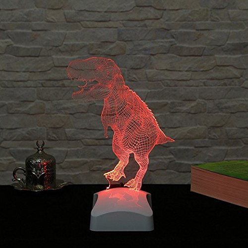LaModaHome Jurassic Hologram Table Lamp - Old Big Animal Friend T-Rex, 100% Plexiglass, Size (9.1'' x 10.6'') 3D Illusion Minimalist Solid Bedside Table Lamp for Living Room, Bedroom, Kids Room by LaModaHome (Image #1)