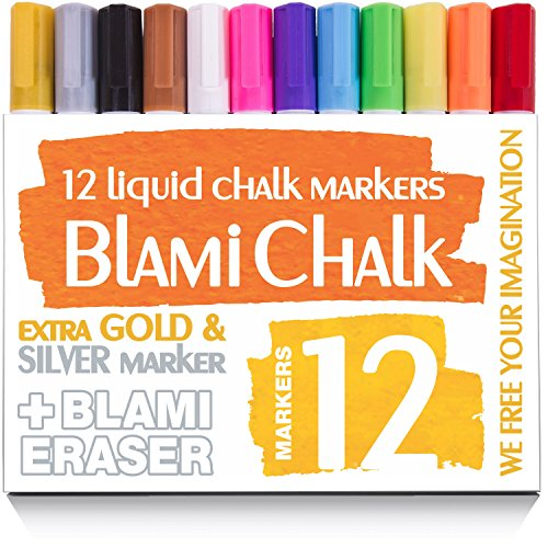 Blami Arts Chalk Markers Reversible Tip - 12 Pack Erasable Neon Bright Non-Toxic Paint -Extra GOLD & SILVER Liquid Ink Pens for Non-Porous Chalkboards and Bistro Glass Windows - Eraser Sponge included