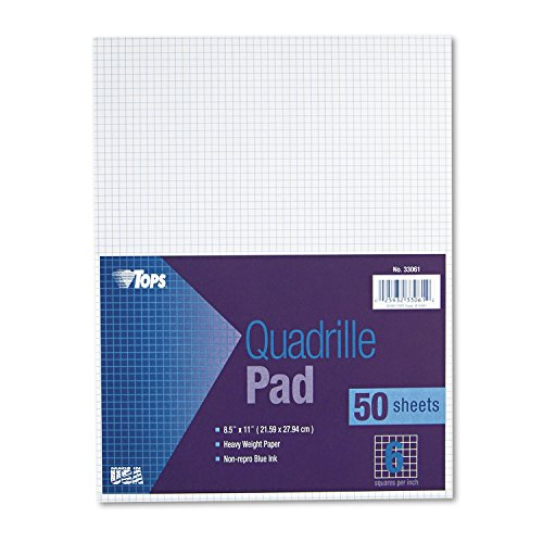(TOPS 33061 Quadrille Pads, 6 Squares/Inch, 8 1/2 x 11, White, 50 Sheets)