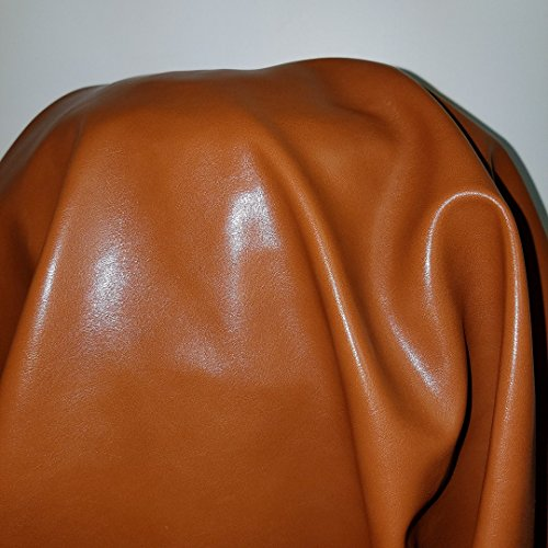 Tan Cognac Faux Leather Synthetic Pleather 0.9 mm Omega Calf Smooth Nappa 5 yard 54 inch wide x 180 inch length Soft smooth vinyl Upholstery (Mid Brown) (5 yards) ()