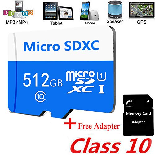 Memory Card Micro SD Card 256GB 512GB MicroSDHC Memory Card UHS-1 Up to 90MB/s Read, Class 10 C10 U1 TF Card for Camera, Security System,Smartphone,(512GB Blue)