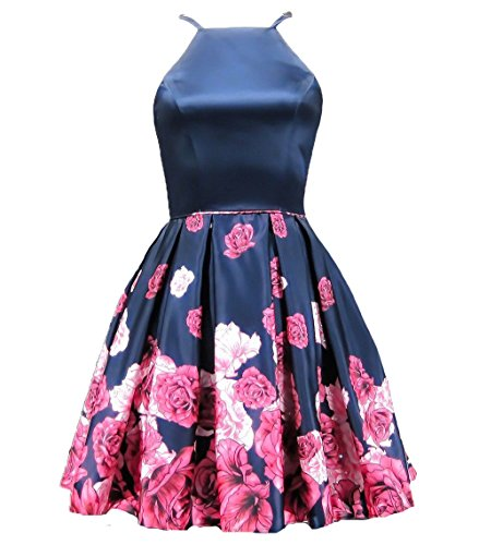 Homecoming Deep 10 Style Floral Short AngelCity Evening Brides Neck Dresses black Dresses Party V zx6ZXw