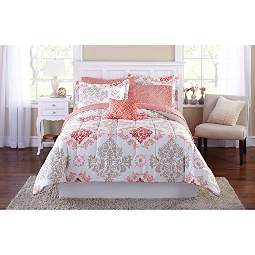 Teen Girls Pink Coral Damask 6 Piece Comforter Set, TWIN / TWIN XL Size Bed in A Bag by Mainstays