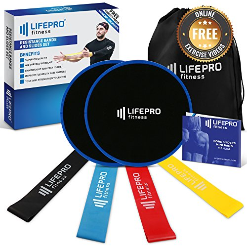 LifePro Core Sliders Gliding Discs and Resistance Loop Bands - Strength Bands (4) Dual Sided Sliding Disks For Home Workout Exercise, Beachbody, Floor Slider Fitness - Manual, EBook & Online Videos