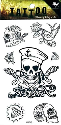 PP TATTOO 1 Sheet Skull Sword Cross Rose Birds Candy Sugar Skull Diamond Temporary Tattoo Stickers Waterproof Body Arm Tattoo Sticker for Men Women Make up Fake Tattoo Removable -