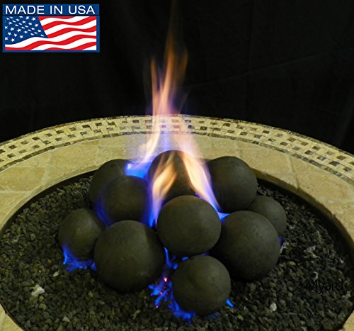 (Myard 14 Cannonball Fire Stones Log Set for Fire Pit/Personal Fireplace (14, Solid-Mix-20LB))