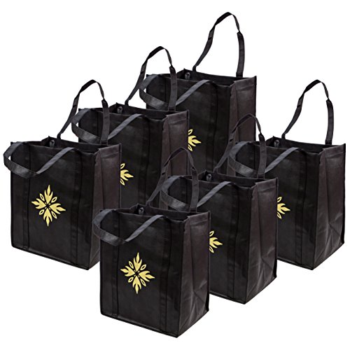Reusable Grocery Bags (6 pack, Black) - Washable Tote Bags with Reinforced Handles & Thick Plastic Support Bottom. Premium Quality, Heavy Duty & Foldable - X-Large