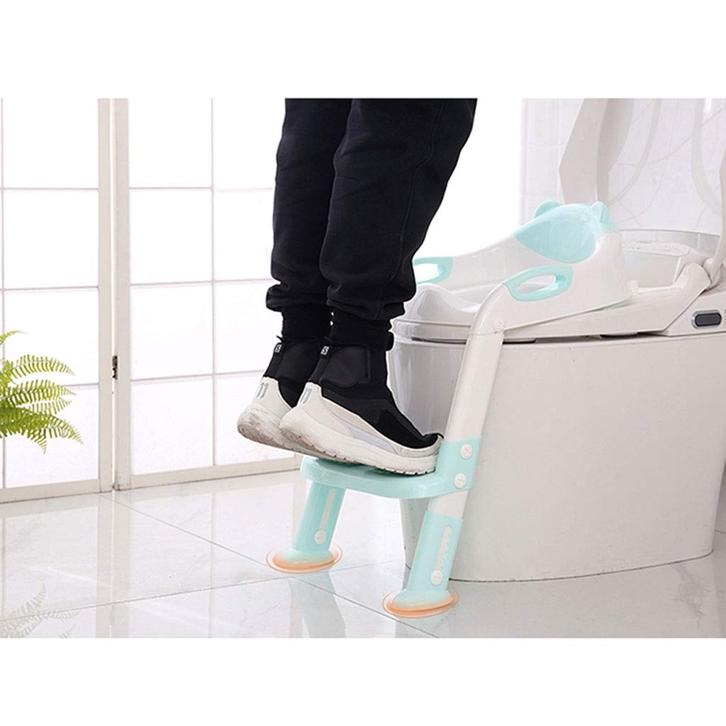 Toilet Training Seat JM Color : Blue Potty Toilet Training Seat Baby Toddler Toilet Trainer Potty Chair Trainer with Step Stool Ladder