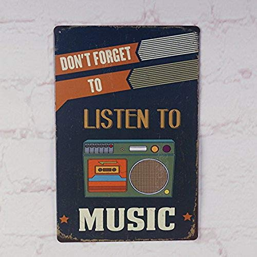 Ugtell Custom Banners and Signs Don't Forget to Listen Music Metal Tin Sign Bar Pub Wall Decor Retro Art Poster Accent Decor Pieces]()