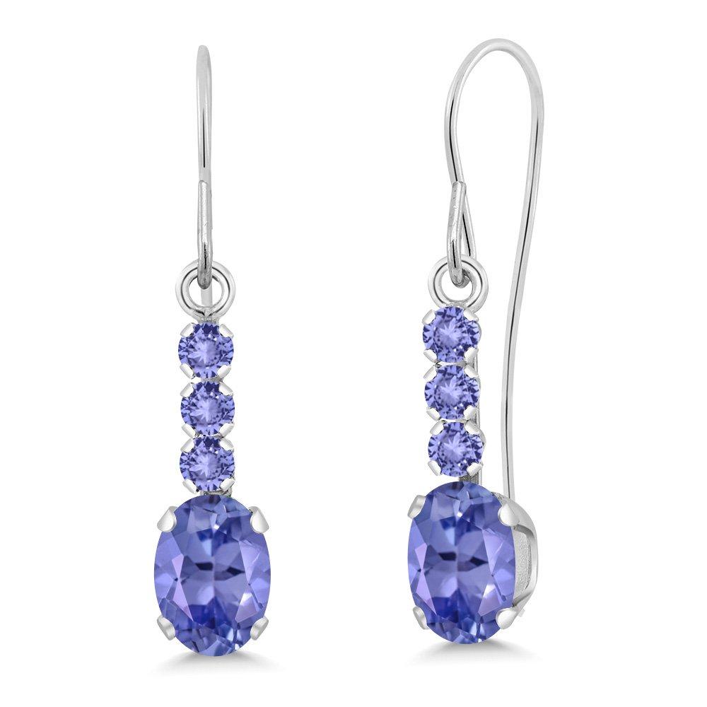 1.14 Ct Oval Blue Tanzanite 10K White Gold Dangle Earrings