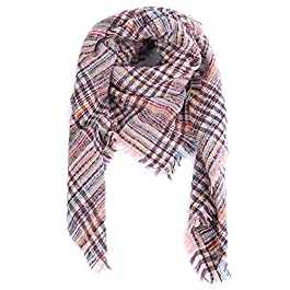 Aibrou Winter Warm Blanket Scarves for Women, Plaid Fleece Oversized Square Shawl Wraps Cape Knitted Scarf