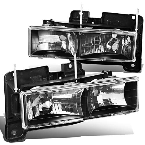 Pair Black Housing Front Bumper Headlight Lamps for Chevy GMC C10 C/K Pickup Suburban Tahoe Yukon 88-00