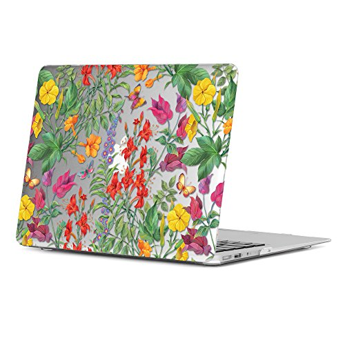 GMYLE MacBook Air 13 Hülle - Hochwertige Matt Gummierte Hartschale Tasche Schutzhülle Snap Case für Apple MacBook Air 13.3 Zoll (A1466 / A1369) , Floral Garten Tropische Blumen & Schmetterlinge